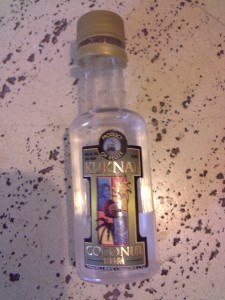 This is a photo of a little bottle of Coconut Rum from Belize